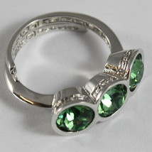 RHODIUM BRONZE REBECCA TRILOGY RING, ROUND GREEN CRYSTAL CT 3.00 MADE IN ITALY image 2