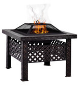 "26"" Square Fire Pit Fire Bowl Outdoor BBQ Burning Grill Patio Poker Grat... - $39.59+"