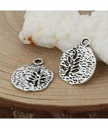 Tree of Life Charms 18mm Antiqued Silver Plated Pendants 10 pcs - $9.90