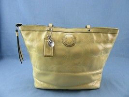 Coach Signature Stitch Patent Leather Butter Yellow Tote Bag F19198 - $45.00
