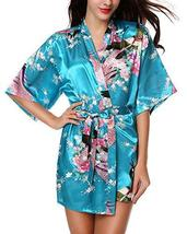 Women's Kimono Robes Peacock and Blossoms Silk Nightwear Short Style - $45.95