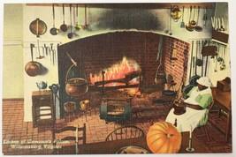 Old Linen Era Postcard Kitchen of Governor's Palace Williamsburg, Virgin... - $12.19