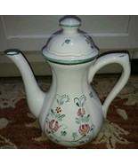 Herend Village Pottery Coffee Pot Red Flowers hand painted PresenTense H... - $40.77