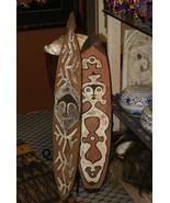 Papua Gulf Ritual Spirit Polychrome Pigmented Flute Board Trophy Shield ... - $284.99