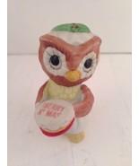 "Vintage Owl Figurine Merry Christmas Holiday Flambro XMAS Porcelain 3"" - $9.46"
