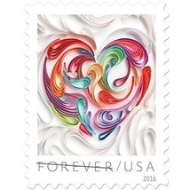USPS Forever Stamps Quilled Paper Heart Sheet of 20. Great for Weddings ... - $28.70