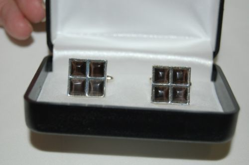 Black Silver Cufflinks Four Square Design Nicely Packaged Box