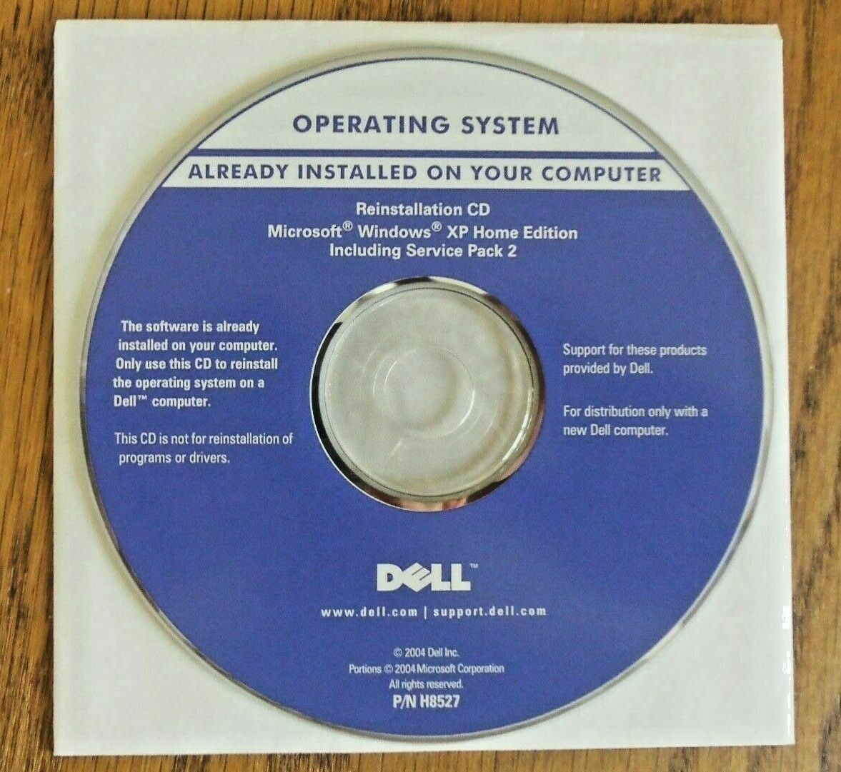 DELL Microsoft Windows XP Home Edition Service Pack 2 Reinstallation CD + PIN - $9.89