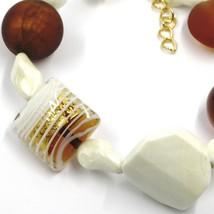 BRACELET ORANGE WHITE SPHERE SQUARE MURANO GLASS GOLD LEAF SPIRAL MADE IN ITALY image 2