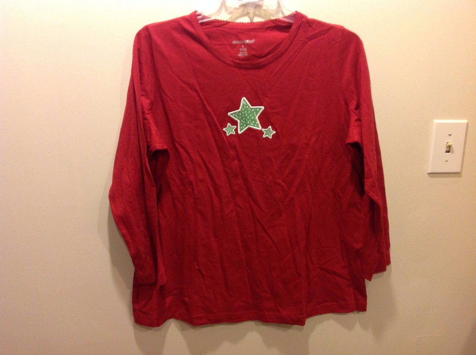 Dreams Co Festive Red Long Sleeve PJ Top w Green White Stars Sz L 18/20