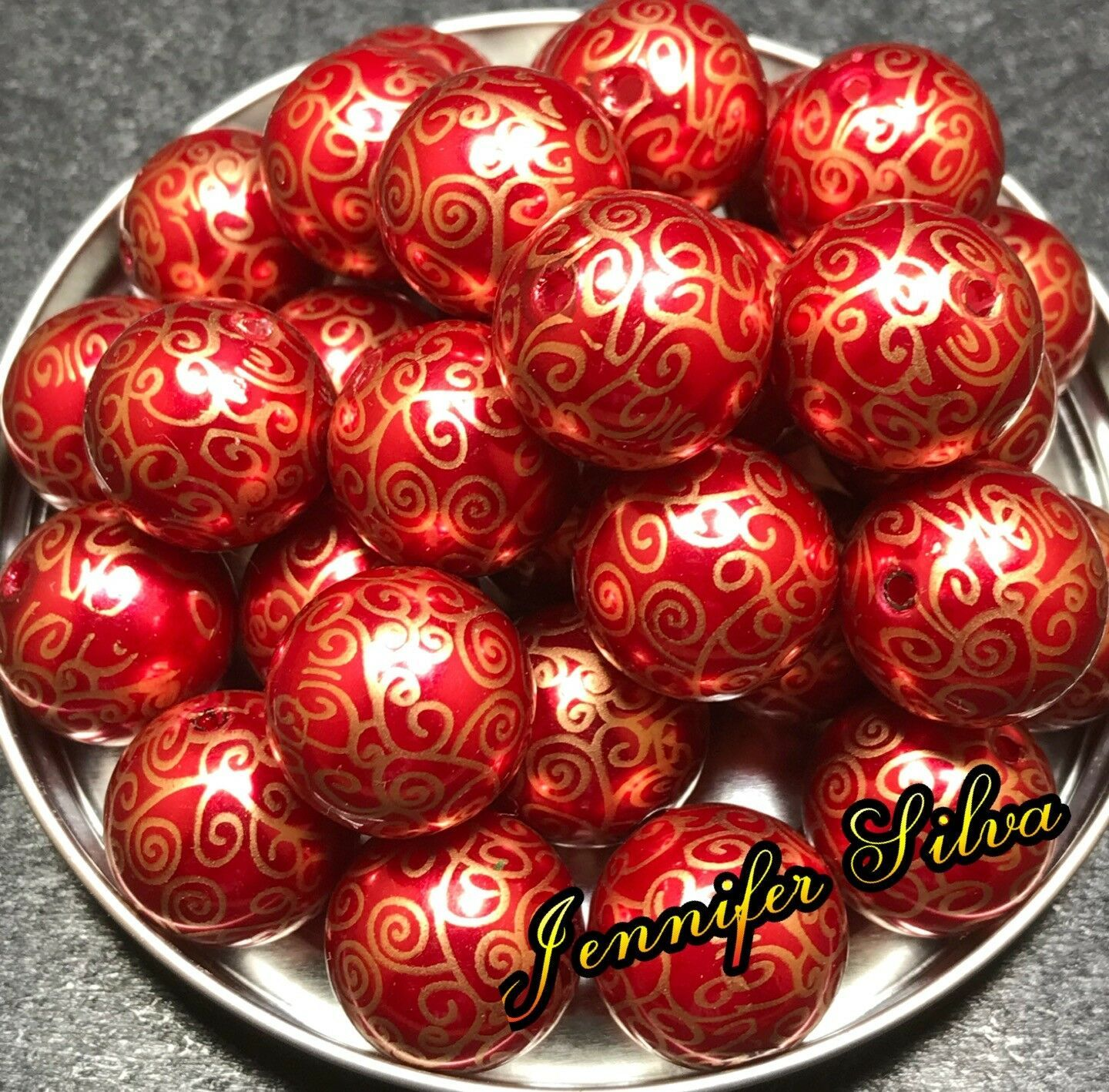 RED & GOLD SWIRL Christmas Chunky Bubblegum Beads 20mm