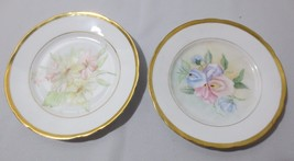 2 Vtg Handpainted Floral with Gold Trim Plates Made in Germany Signed G ... - $25.00
