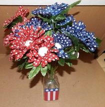 "Ashland Summer Heritage USA Flowers 14"" Tall & Vase 5"" x 2"" American Dec... - $12.49"