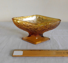 Indiana Glass Amber Iridescent Carnival Pineapple Floral Diamond Shape C... - $7.99