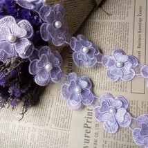91cm Puple Pearl Lace Flower For Dress Ribbon Lace Trim Knitting Wedding... - $7.08