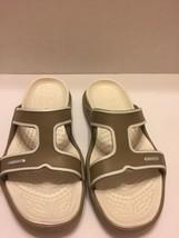 Crocs Women's 9M Sandals Slides Tan White Double Strap Open Toe - $12.19
