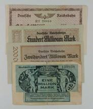 1923 Germany 4-Notes Currency Set Berlin Railroad Bavarian Transport Min... - $49.50