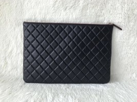 AUTHENTIC CHANEL Black Quilted Lambskin Large Clutch Bag GHW