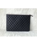 AUTHENTIC CHANEL Black Quilted Lambskin Large Clutch Bag GHW - $999.00