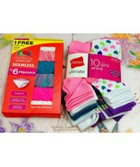NEW! Girls Fruit Of The Loom 6 Hipsters Size 6 -8 & Hanes 10 Pairs Ankle... - $20.45