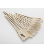 10 Piece Kitchen Utensil Set Wood Brown Cooking Spoons Core Spatula Wooden New - $23.75