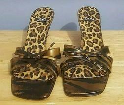 Stuart Weitzman Black/Olive Leopard Print Slides Sandal Heel Shoes 8.5AA - $44.54
