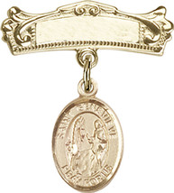 14K Gold Baby Badge with St. Genevieve Charm Pin 7/8 X 3/4 inch - $533.22