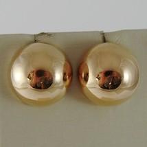 18K ROSE GOLD EARRINGS HALF BALL BALLS, BIG 15 MM DIAMETER, MADE IN ITALY image 2