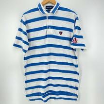 Polo Golf Ralph Lauren Polo Shirt Men's L White Blue Striped Beaver Broo... - $18.49