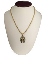 "14K Gold GP Hip Hop Striped Egyptian Pharaoh Pendant Necklace w/ 30"" Rop... - $9.49"