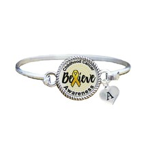 Custom Childhood Cancer Awareness Believe Silver Bracelet Jewelry Choose... - $13.80+