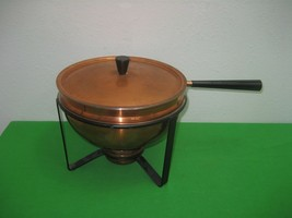 Vintage 5 Piece Set Brass & Copper Food Warmer Chafing Chafer Fondue Buf... - $28.01