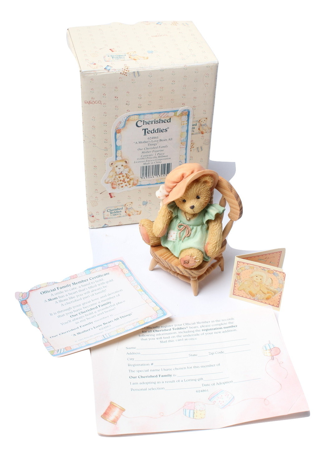 Enesco Cherished Teddies Figurine Our Cherished Family 624861 Mother's Love 1993 - $12.97