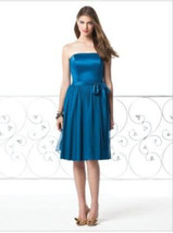 Dessy 2827....Cocktail length, Strapless Dress.....Ocean Blue.....Size 6 - $49.49
