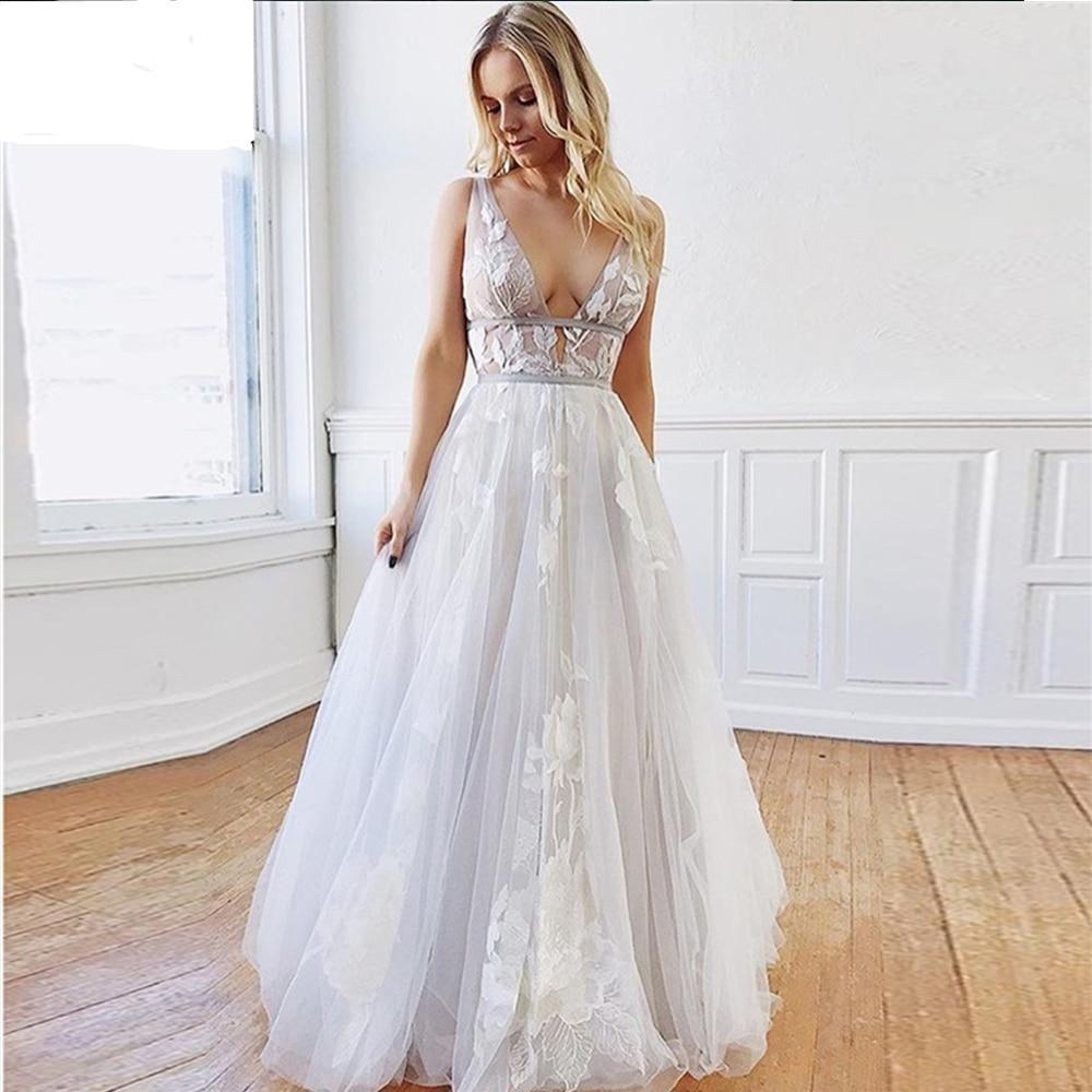 Edding dresses vintage princess beach bridal gowns deep v neck lace appliqued country sleeveless
