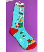 Christmas Knee High Junior Cats Sleigh Presents Reindeer Sock it to Me S... - $8.90