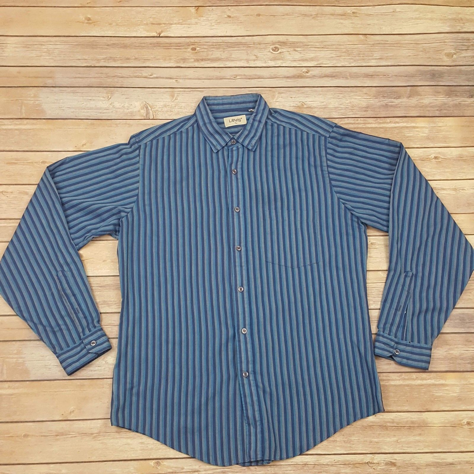 Primary image for Mens Levis Button Down Shirt Size Large Vertical Stripes.