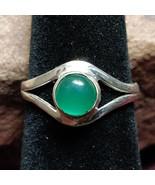 Green Onyx Silver handmade gemstone ring size 6 #003 - $30.00