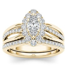 IGI Certified Solid 14k Yellow Gold 0.62Ct Diamond Cluster Halo Bridal R... - $779.99