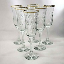6 Swirl Glass Gold Rim Clear Crystal Champagne Flute Wine Glass Optic St... - $32.50