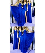 Royal Blue Satin High Split Long Bridesmaid Dress V-Neck Women Party Gow... - $115.33