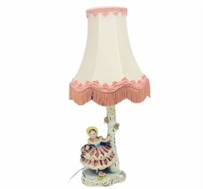 Antique lamp 1800s porcelain lace figurine capodimonte N crown mark Victorian 1 - $643.50