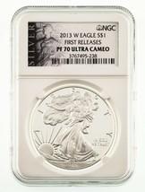 2013-W Argent American Eagle Preuve Classé par NGC comme PF70 Ultra Camé... - $88.99