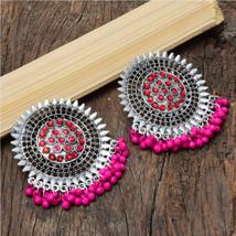 Handmade Oxidized Silver Pink Beads Earrings For Women | BohoStatement Earrings  - $13.00