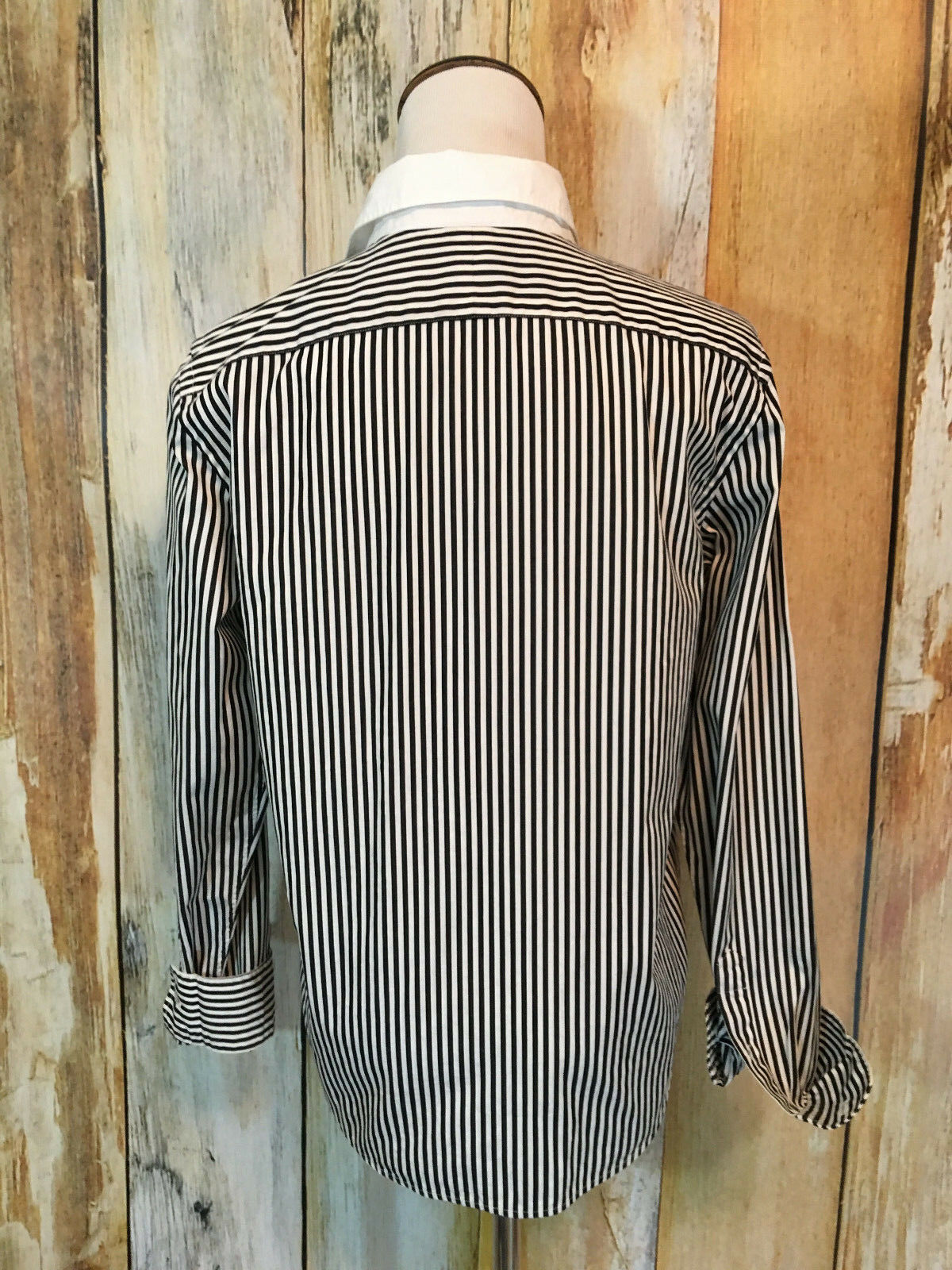 Lauren Ralph Lauren Button Down Shirt Stripe Black White Career Cotton sz S EUC!