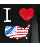 I Love USA America Black Patriotic T-Shirt XL New York Short Sleeve - $18.80