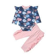 0-24M  Newborn Baby Girl Flower Tops Romper Ruffle Pants Trousers Outfits - $12.07+