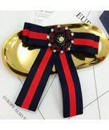 Burgundy Red Crystal Fashion Ladies Men Pre Tied Bow Brooch Pin - $8.99