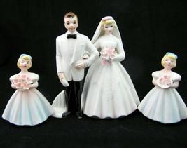 Vtg Lefton Figurine Bride Groom w Bridesmaids 715 Set Wedding Cake toppers - $49.49