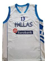 Dimitris Diamantidis #13 Greece Custom Basketball Jersey New Sewn White Any Size image 1